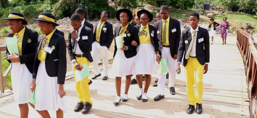 Students on the Bailey bridge, arriving at the Olusegun Obasanjo Presidential Library in Abeokuta