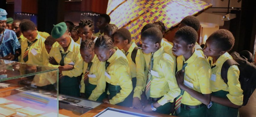 Students on a tour of the museum at the Olusegun Obasanjo Library in Abeokuta